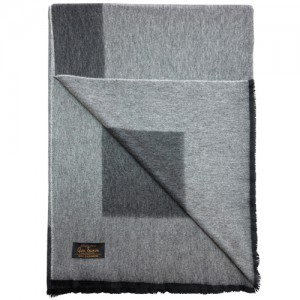Плед GLEN SAXON Border Black-fl.Grey, кашемир, 150х200 см